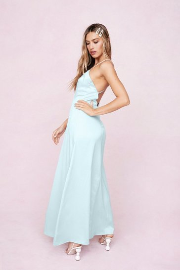 Mint Strappy Satin Split Hem Maxi Dress