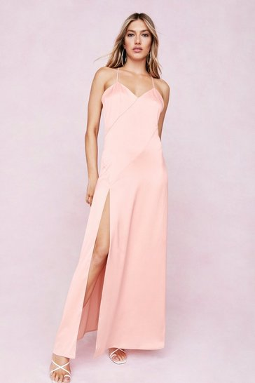 Peach Strappy Satin Split Hem Maxi Dress