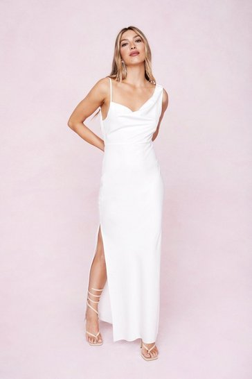 Ivory One Shoulder Cowl Neck Satin Maxi Dress