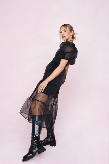 Black Organza Wrap Puff Sleeve Midi Dress