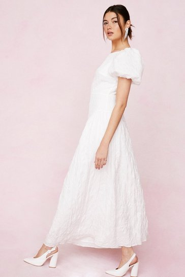 White Bridal Crinkle Puff Sleeve Maxi Dress