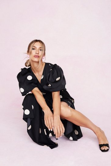 Black Polka Dot Print Wrap Midi Dress
