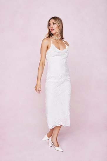 White Devore Animal Cowl Neck Midi Slip Dress