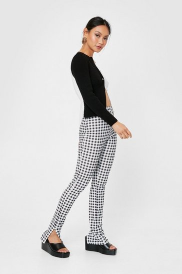 Black Hold Slit Together Petite Gingham Pants