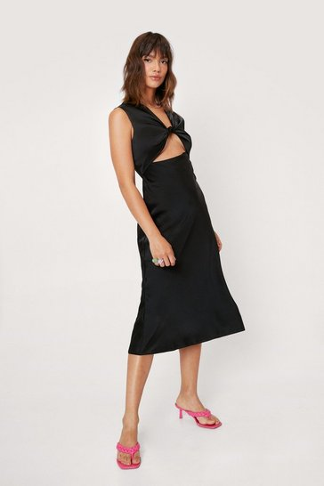 Black Twist Front Satin Midi Slip Dress