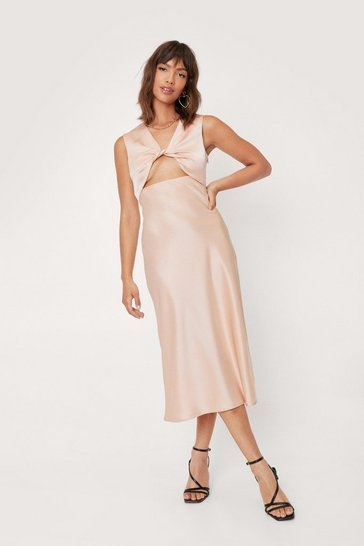 Peach Twist Front Satin Midi Slip Dress
