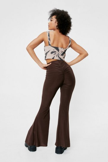 Chocolate Flare the Love Petite Ruched Pants