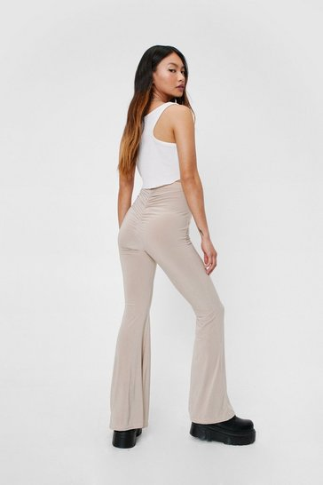 Stone Petite High Waisted Ruched Flared Pants