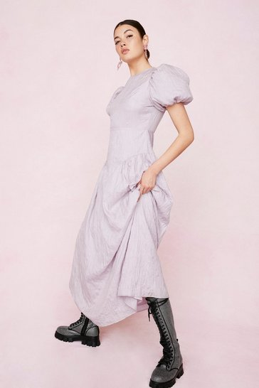 Lilac Crinkle Puff Sleeve Maxi Dress