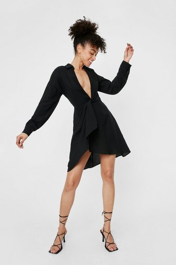 Black Plunging Twist Front High Low Hem Mini Dress