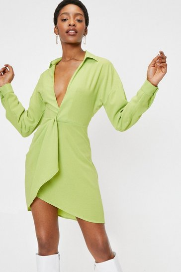 Lime Plunging Twist Front High Low Hem Mini Dress