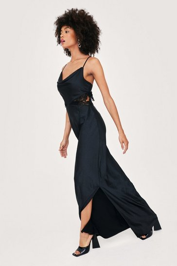Black Bridal Lace Insert Cowl Neck Maxi Dress