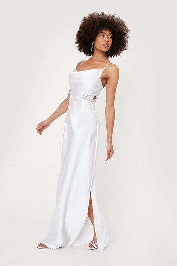 White Bridal Lace Insert Cowl Neck Maxi Dress