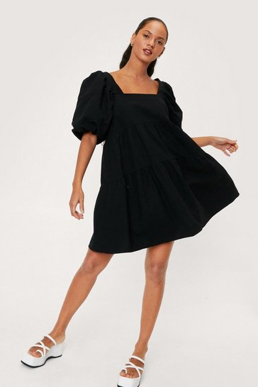 Black Linen Look Puff Sleeve Smock Mini Dress