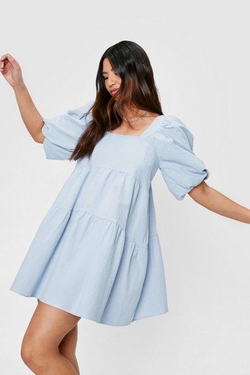 Cornflower blue Linen Look Puff Sleeve Smock Mini Dress