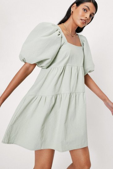 Sage silver Linen Look Puff Sleeve Smock Mini Dress