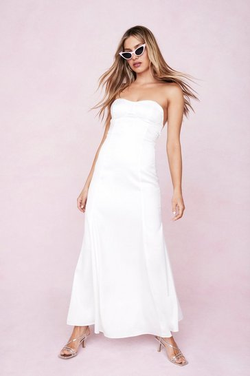 Ivory Satin Strapless Bow Detail Maxi Dress