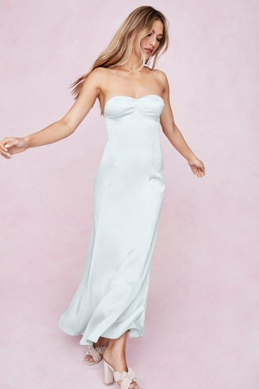 Mint Satin Strapless Bow Detail Maxi Dress