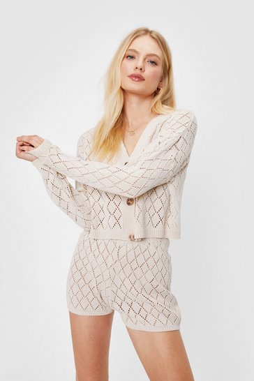 Stone Diamond Knit Cardigan and Shorts Lounge Set