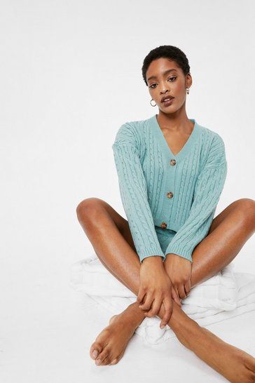 Sage Ribbed Cable Knit Cardigan and Shorts Lounge Set