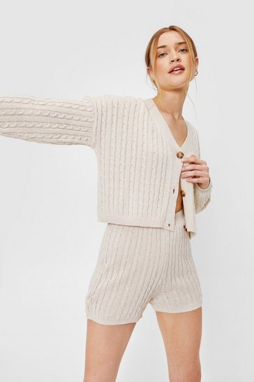 Stone Ribbed Cable Knit Cardigan and Shorts Lounge Set