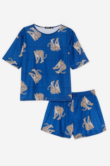 Navy The Purr-fect Night Cheetah Pajama Shorts Set