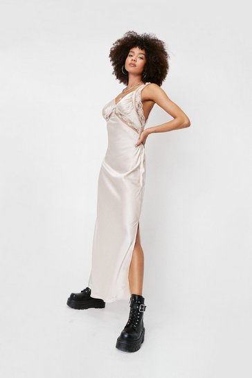 Champagne Satin Lace Insert Slip Maxi Dress