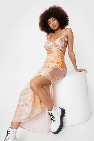 Peach Tie Dye Print Lace Satin Split Hem Midi Dress