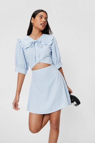 Baby blue Check Cut Out Puff Sleeve Mini Dress