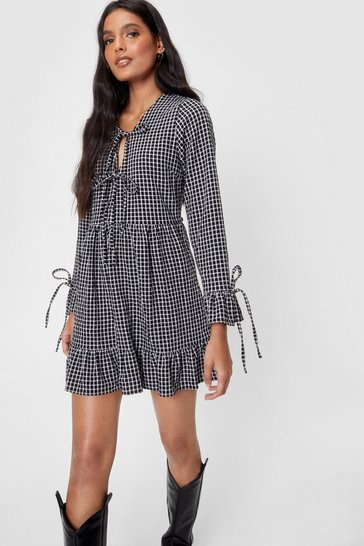Sage Gingham Long Sleeve Tie Front Mini Dress