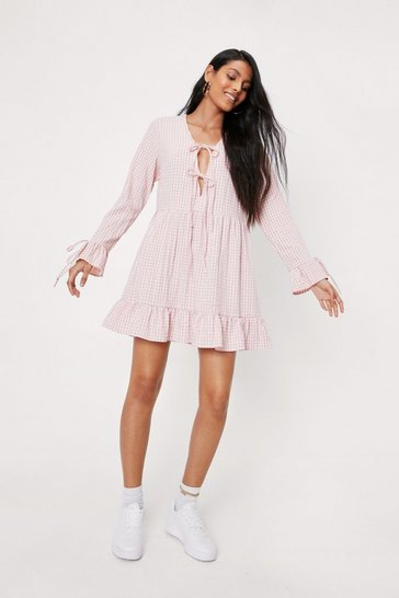 Pink Tie Detail Tiered Check Mini Dress