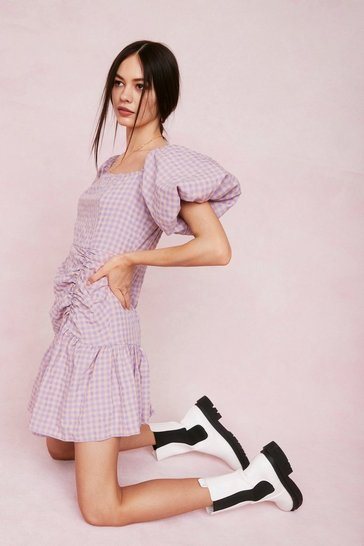 Lilac Gingham Print Puff Sleeve Mini Dress