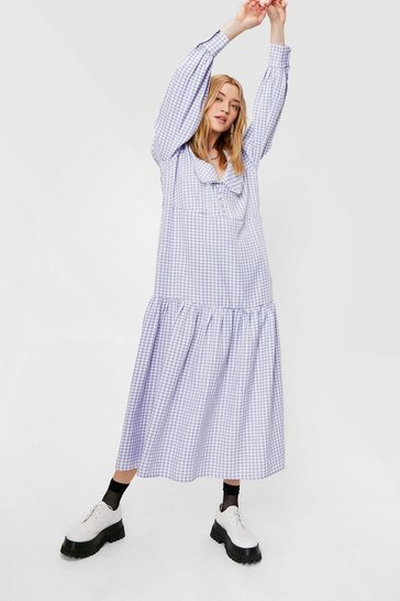 Lilac Gingham Print Long Sleeve Maxi Dress