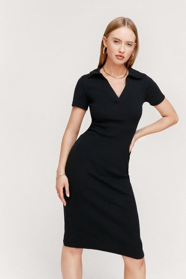 Black Ribbed Short Sleeve V Neck Midi Dress