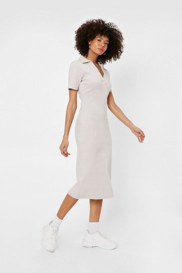 Light stone Ribbed Short Sleeve V Neck Midi Dress