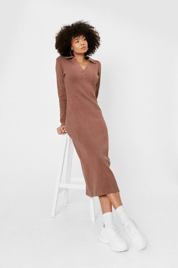 Chocolate Collar Detail V Neck Ribbed Midi Dress