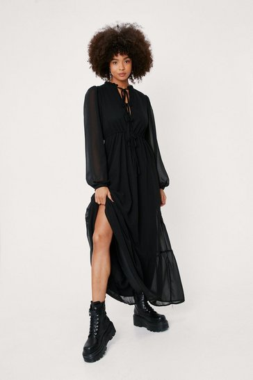 Black Chiffon Lace Up Front Balloon Sleeve Maxi Dress