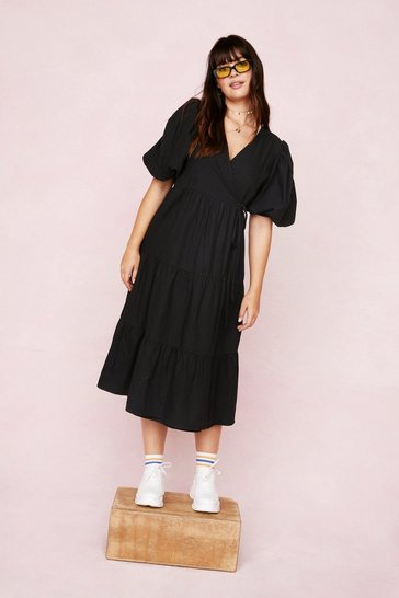 Black Plus Size Puff Sleeve Wrap Smock Midi Dress
