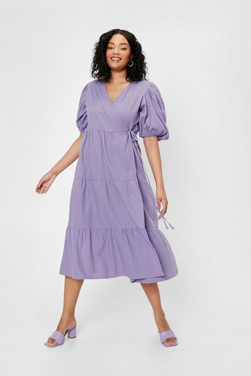 Purple Plus Size Puff Sleeve Wrap Smock Midi Dress