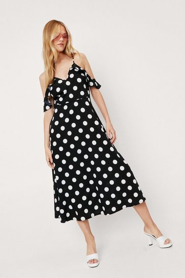 Black Poka Dot Cold Shoulder V Neck Midi Dress