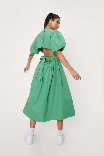 Bright green Open Back Puff Sleeve Midi Dress
