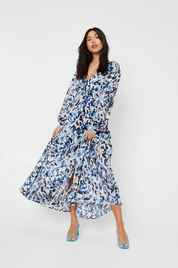 Blue Abstract Animal Print Split Front Midi Dress