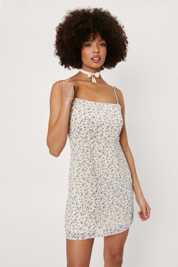 Lemon Floral Square Neck Mini Dress