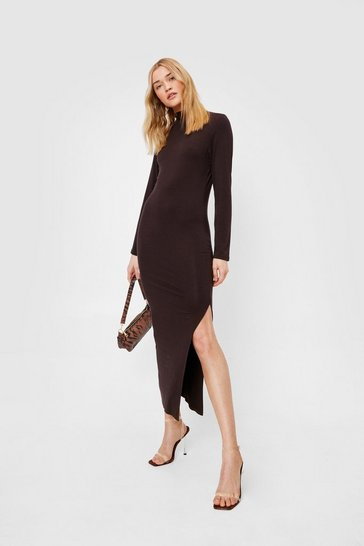 Chocolate High Neck Fitted Split Leg Midi Dress
