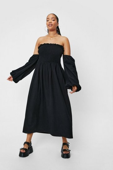 Black Plus Size Off the Shoulder Linen Look Shirred Midi Dress
