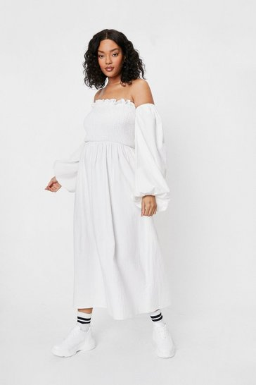 Cream Plus Size Off the Shoulder Linen Look Shirred Midi Dress