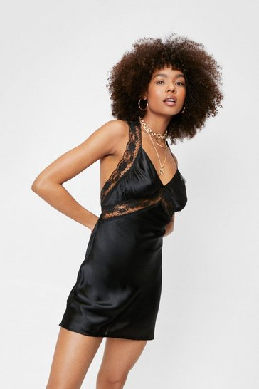 Black Relaxed Satin Mini Dress