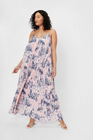 Pink Plus Size Tie Dye Pleated Maxi Dress