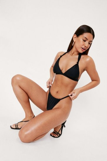 Black Knot Detail Triangle High Leg Bikini Set