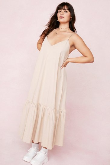 Stone Plus Size Strappy Drop Hem Linen Look Maxi Dress